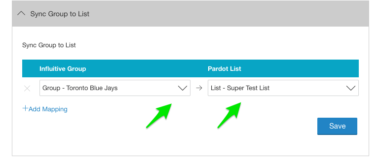 map your hub groups left to the pardot list right where you want to send the contacts