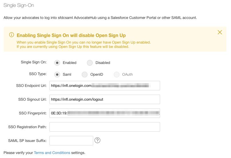 Configuring SAML > OneLogin - Influitive Support Portal
