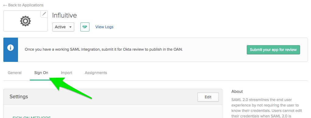 Configuring SAML > Okta - Influitive Support Portal