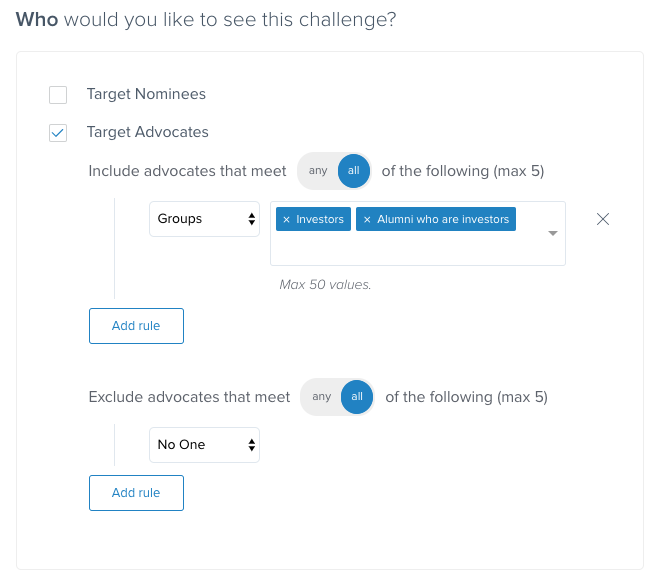 d25da4e5b Target Nominees: If you have an Open Sign-up Hub, and your new members  start as Nominees, you will want to decide whether or not these users  should be able ...