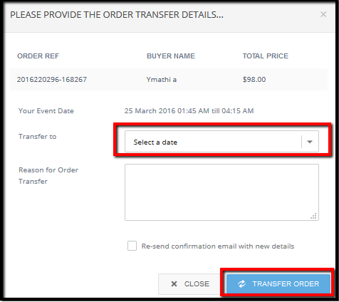 How to transfer the order across recurring events