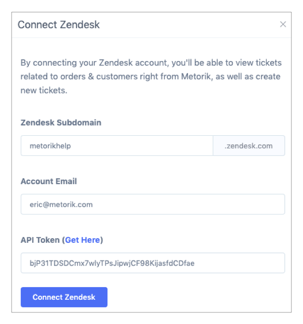 Integration: Zendesk - Metorik | Docs