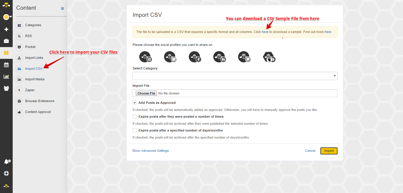How do I Import Content via CSV? - SocialBee Help Documentation