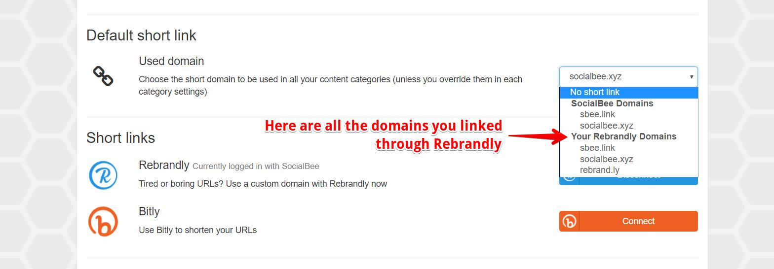How do I set up Rebrandly URL Shortening? - SocialBee Help Documentation