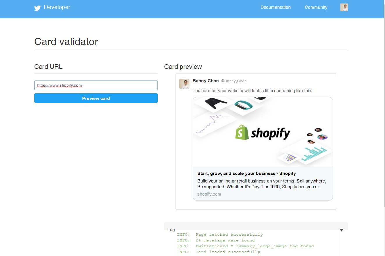 Preview link preview on Twitter Cards Validator