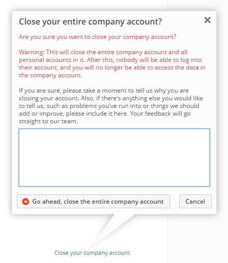 Closing your company account