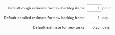 Setting default estimates for backlog items and tasks
