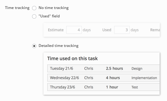 Selecting which type of time tracking to use