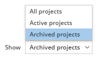 How to view archived projects