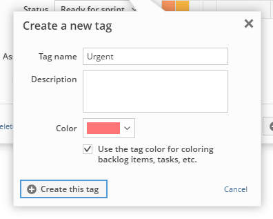 Determining whether the color of a tag should be used on backlog items etc.