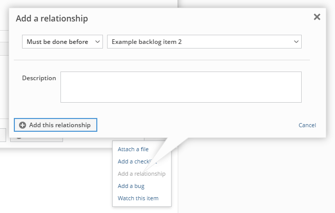 Adding a relationship between backlog items