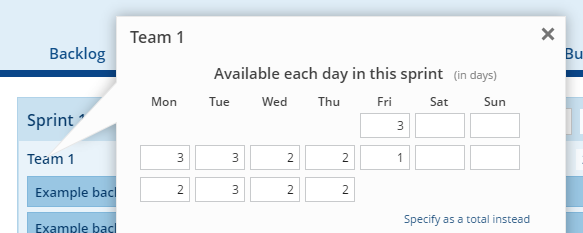 Changing the available time when specifying it per day