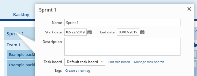 Selecting the task board to use in a sprint