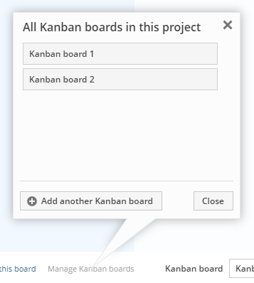 Managing Kanban boards in a project