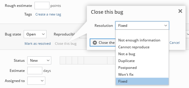 Resolving and closing a bug in one operation