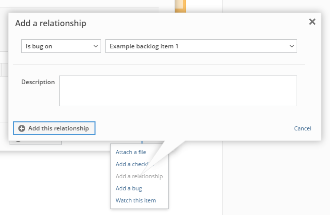 Adding a relationship from an existing but to a backlog item