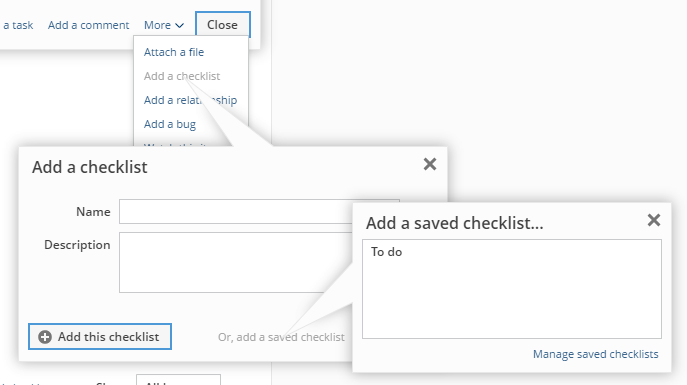 Adding a saved checklist to a backlog item