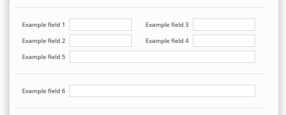 Custom field layout with start new section