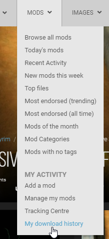 where can i find my download history nexus mods site help