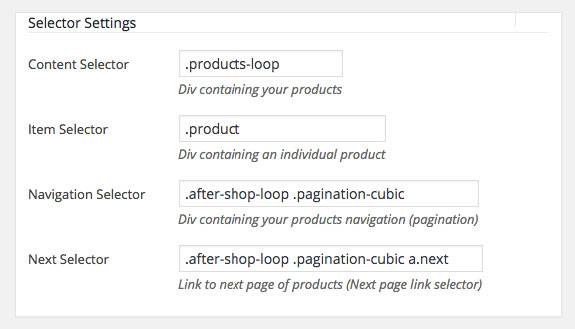 WooCommerce Infinite Scroll and Ajax Pagination settings