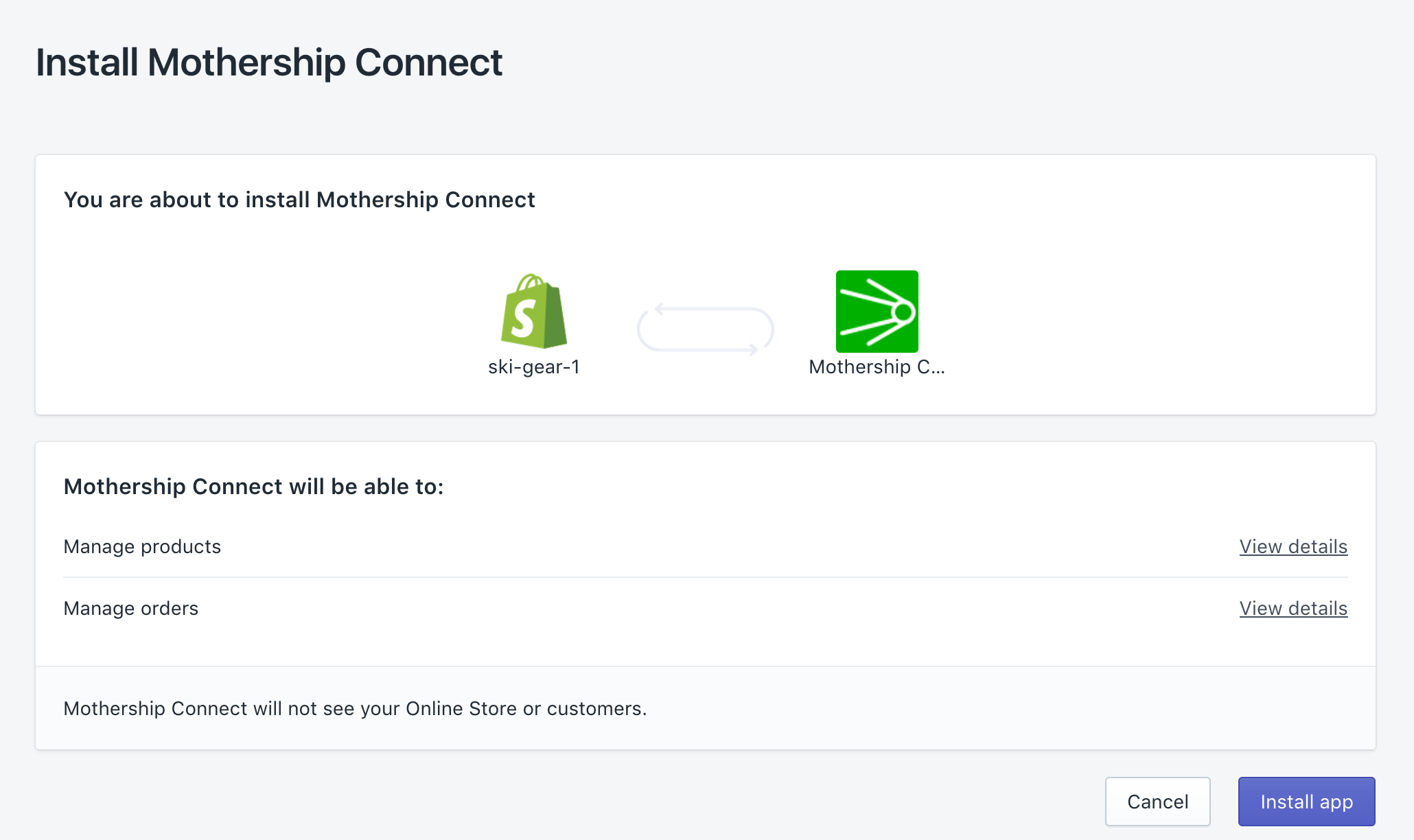 How do I install the Mothership Connect app for Shopify