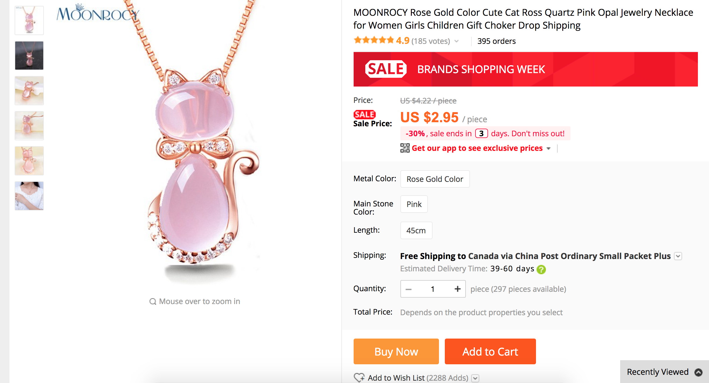 For This Cat Necklace Shopzie Will Take 295 The AlIExpress Sell Price And Apply Markup Percentages Means When Is