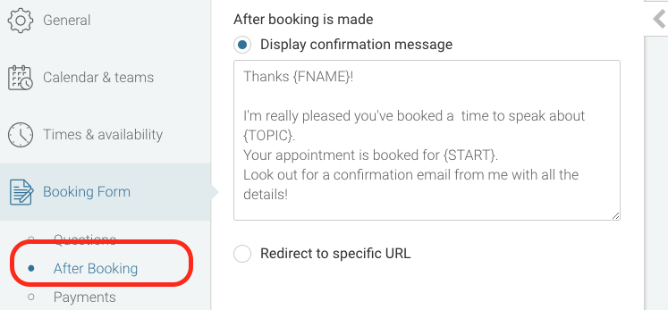 when a visitor makes a booking theyll be directed to a thank you page which includes some default content to confirm their booking