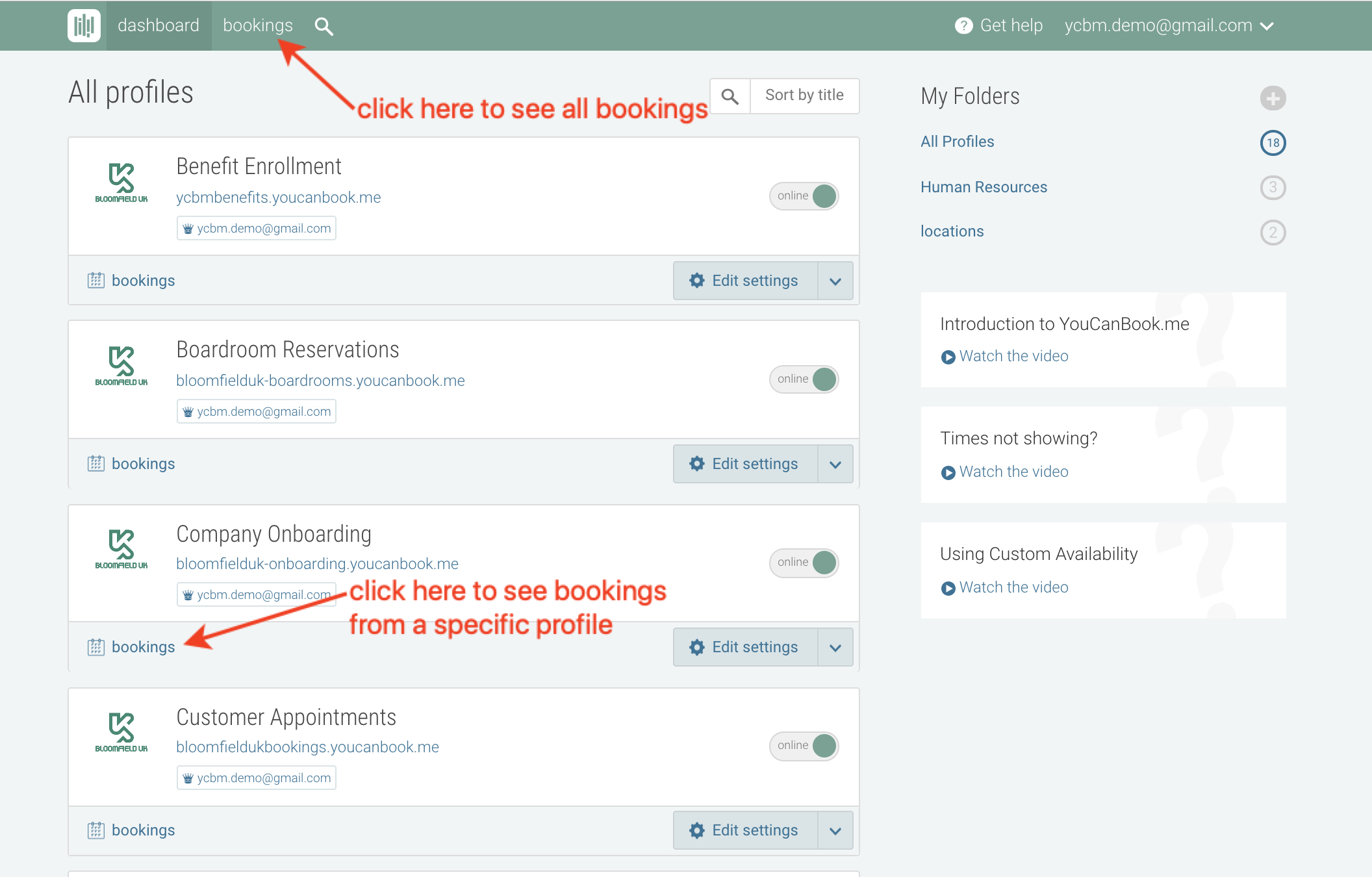 View and export your booking activity - YouCanBook me Knowledge Base