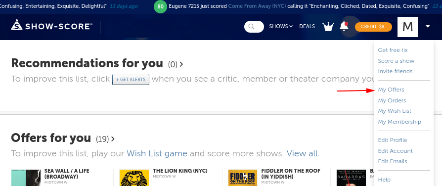 Where can I see available Member Night offers? - Show-Score Help