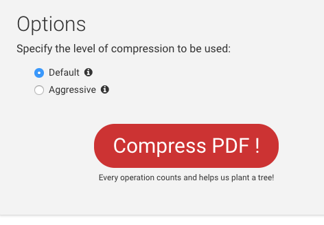 Options for PDF compressions