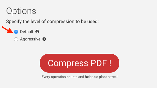 Compress PDF options