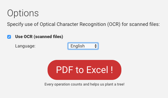pdf to excel OCR options