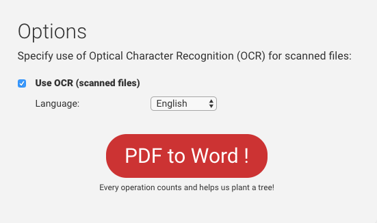 PDF to Word conversion OCR options (scanned files only)