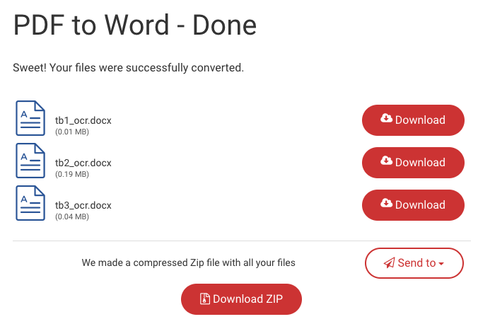 Downloading the converted Word files