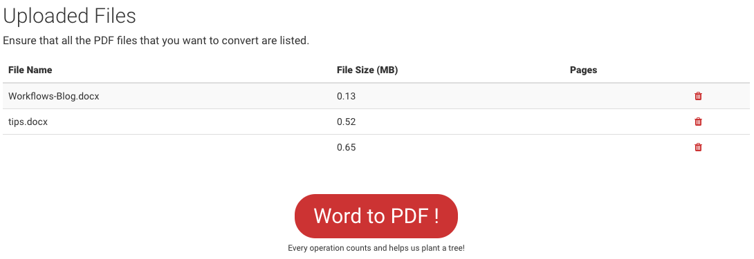 Uploaded files in Word to PDF converter