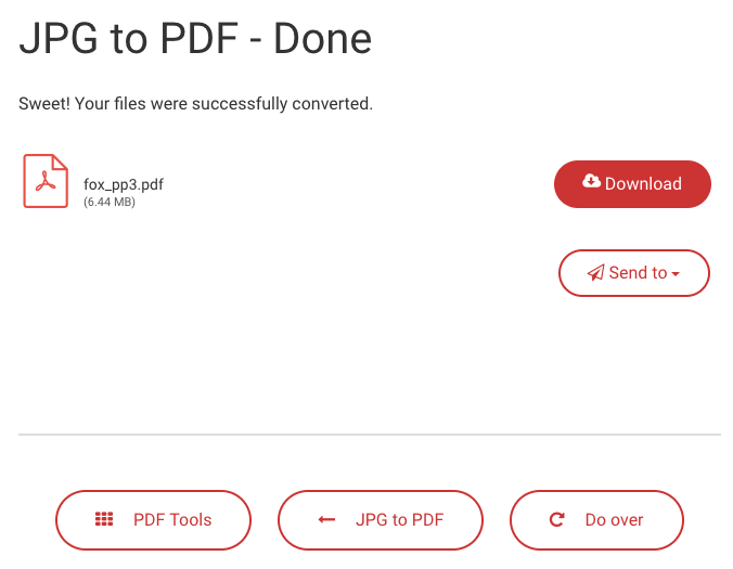 Downloading the converted PDF file in JPG to PDF