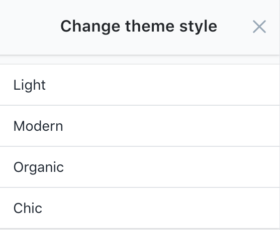 Theme style selector with four choices