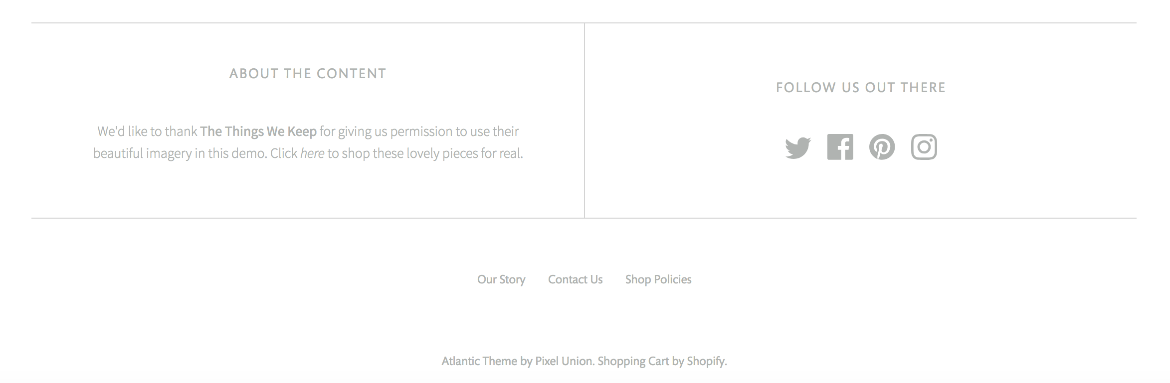 Atlantic Chic demo's footer with social links and menu