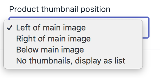 Product thumbnail position selector in theme editor
