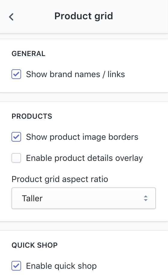 Product grid configurations in Theme settings sidebar