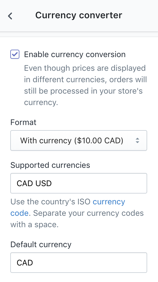 Currency converter configurations in Theme settings sidebar