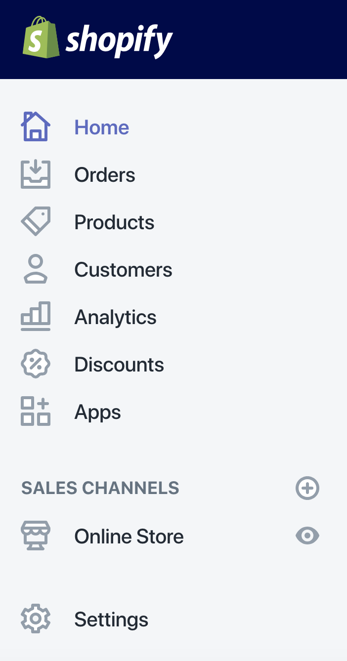 Shopify dashboard sidebar