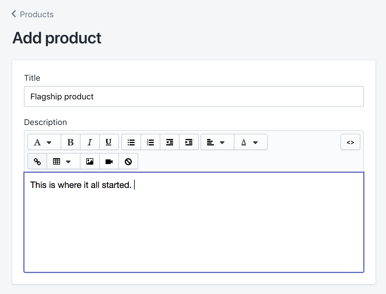 Add product with title and description fields