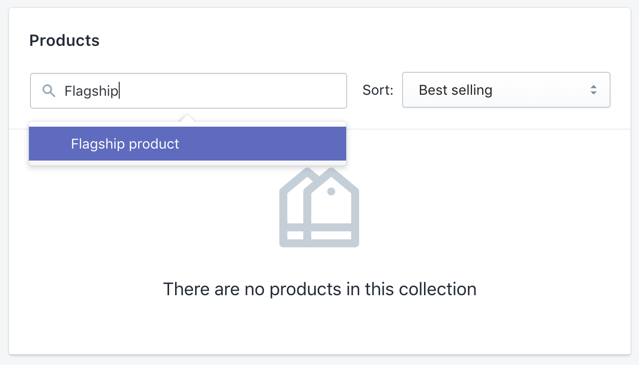 Adding product to collection manually using search