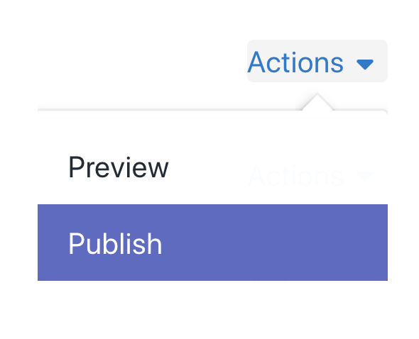 Grid's Actions menu with Publish selected