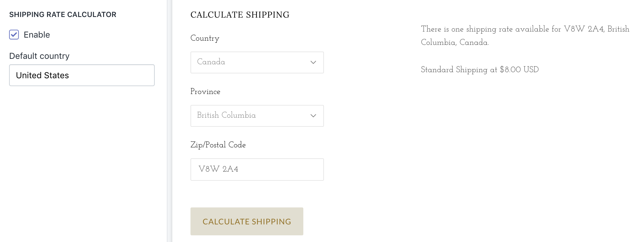 Shipping rate calculator enabled on Grid Bright cart page
