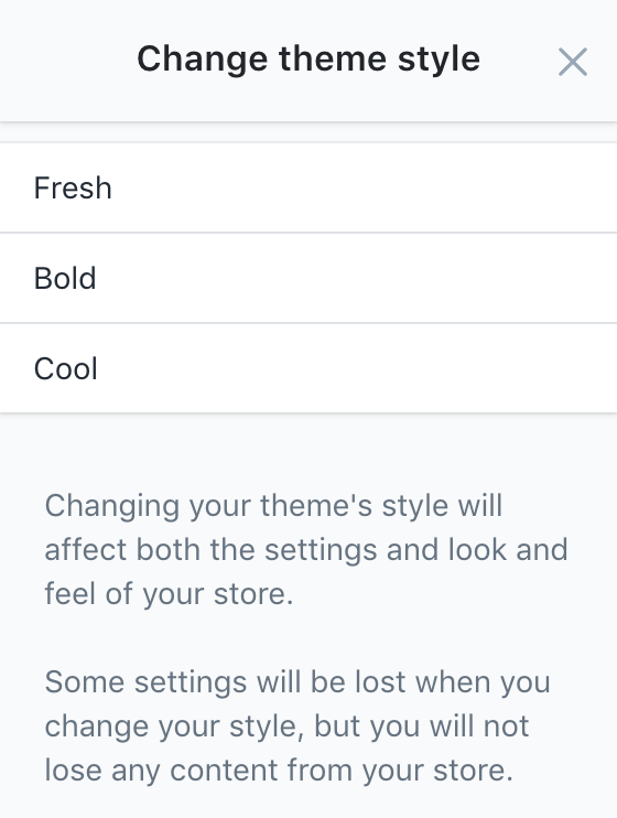 Launch's style selector in theme editor