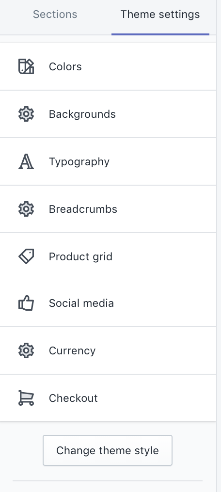 Theme settings in Startup theme editor
