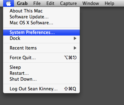 Clicking on the Apple menu and then clicking on System Preferences, the fourth item in the list