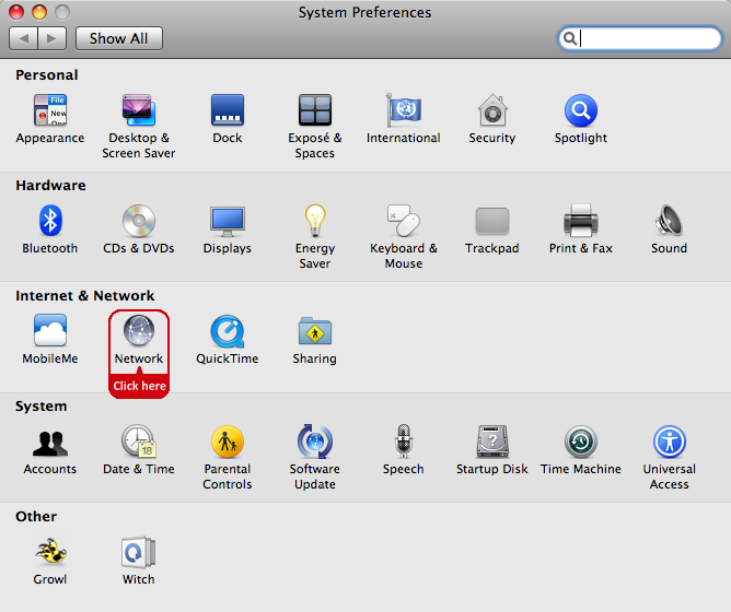 List of System Preferences items, with Network highlighted
